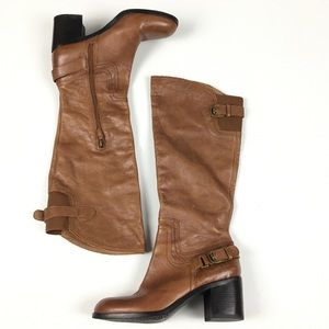 Franco Sarto Knee High Riding Boot Leather Brown